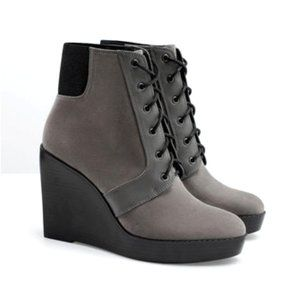 ZARA Trafaluc Suede Wedge Lace Up Booties